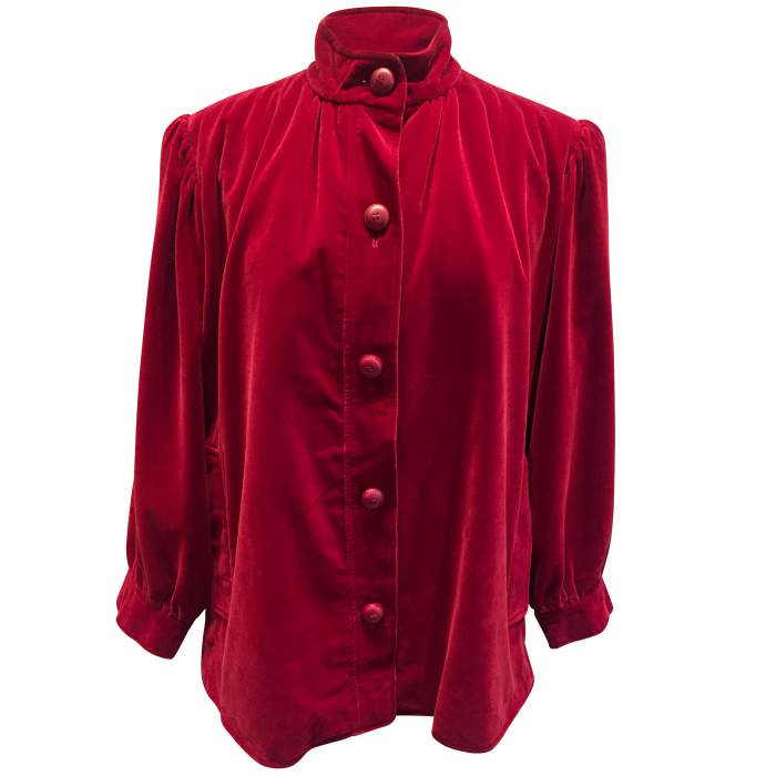 Vintage late 1970 red velvet Jacket -0