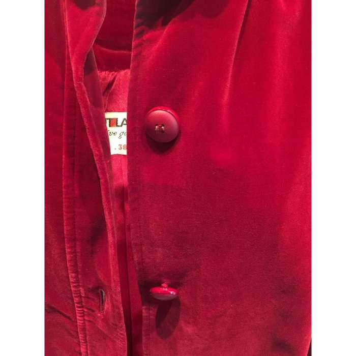 Vintage late 1970 red velvet Jacket -8