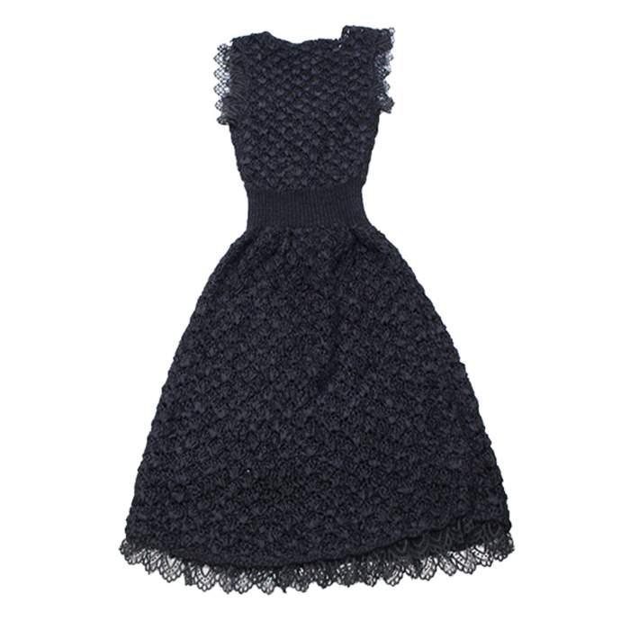 Black lace crochet Dress-2
