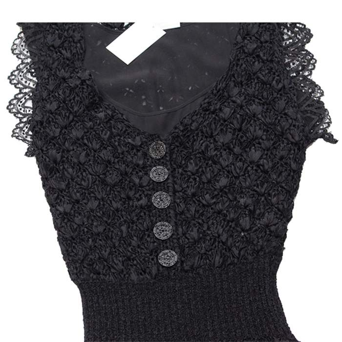 Black lace crochet Dress-4