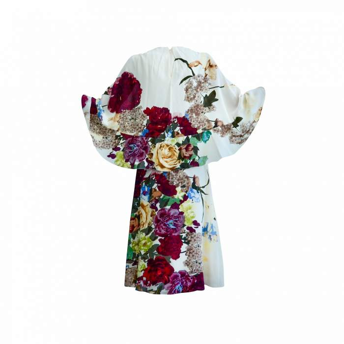 Cape back Floral- print silk Dress-2