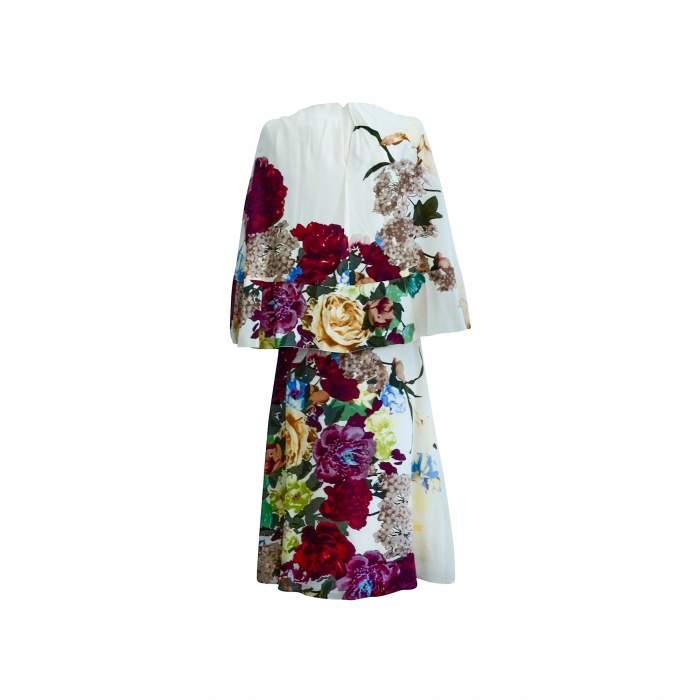 Cape back Floral- print silk Dress-4