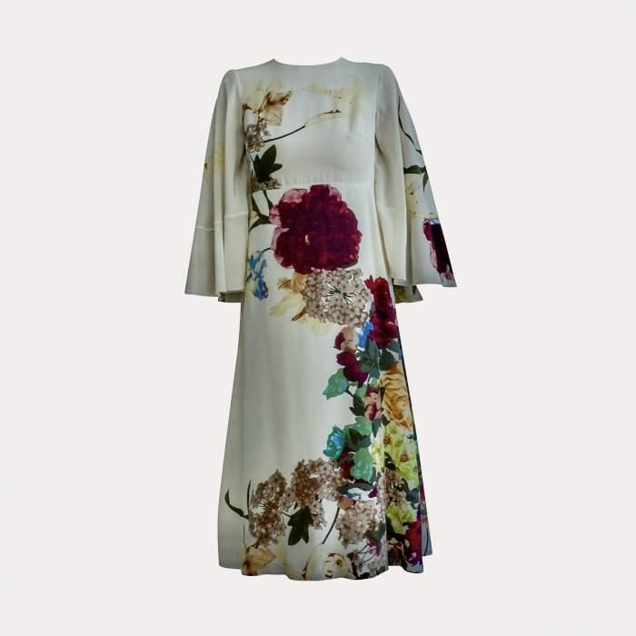 Cape back Floral- print silk Dress-6