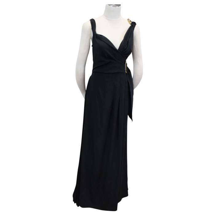 Gorgeous Portfolio Black Dress with Bronze metallic details-0