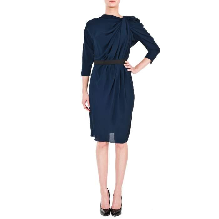 Pleated Neckline Knee-Lenght Dress-8