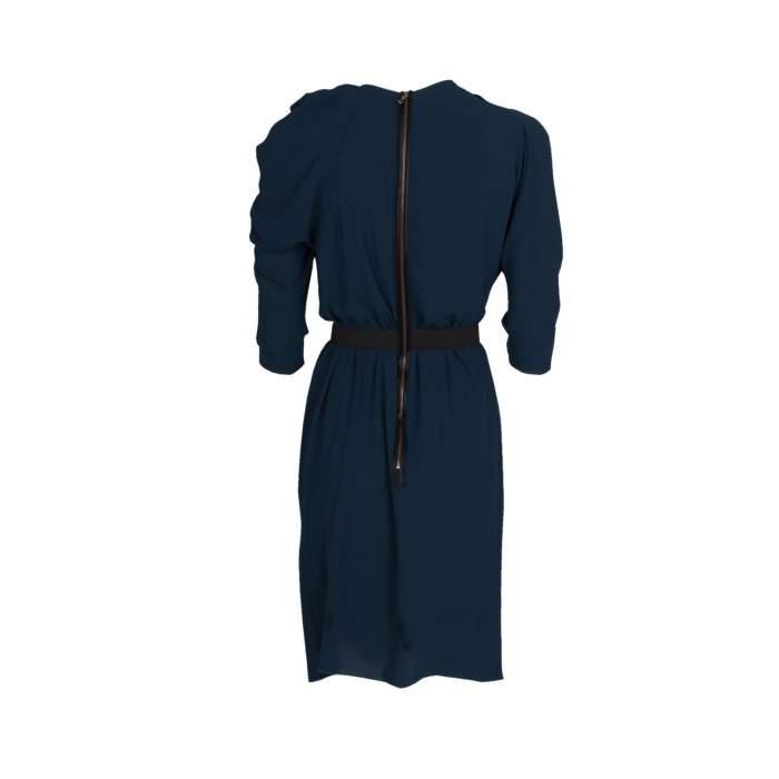 Pleated Neckline Knee-Lenght Dress-2