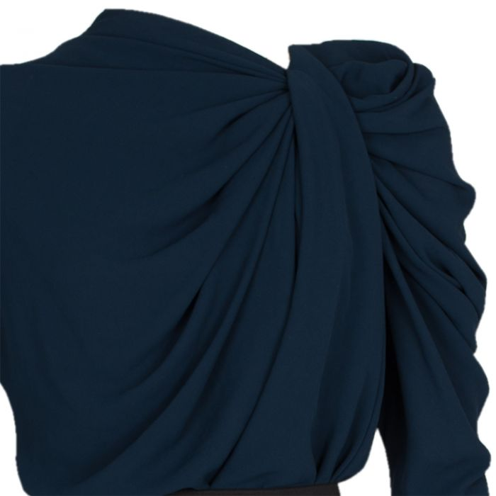 Pleated Neckline Knee-Lenght Dress-6