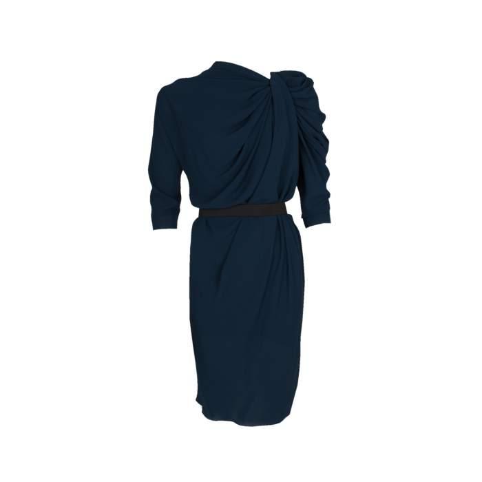 Pleated Neckline Knee-Lenght Dress-0