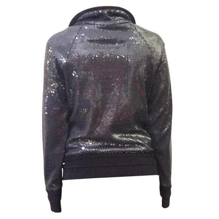 Blue sequin bomber W/terrycloth details-2