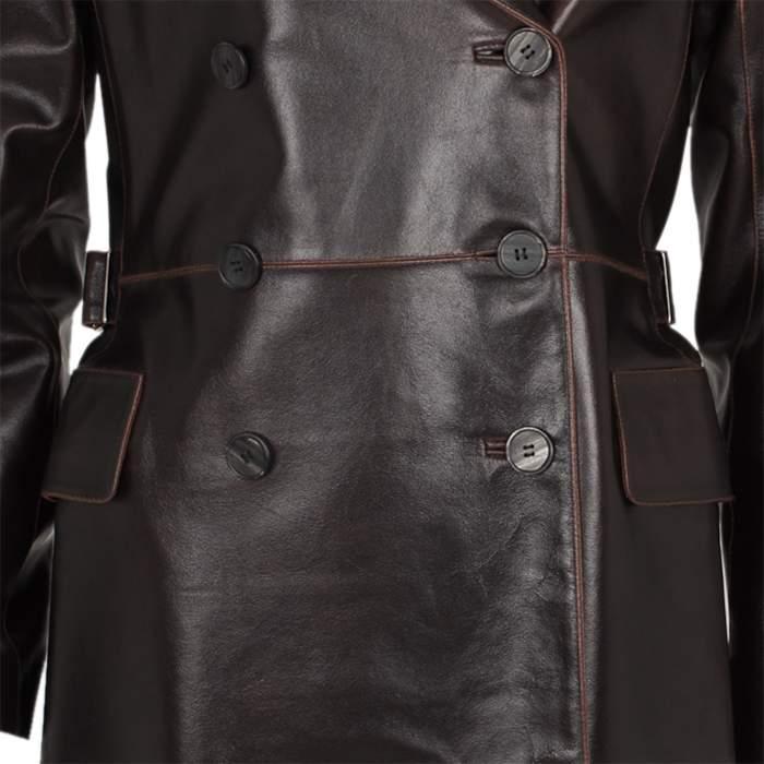 Long leather jacket Coat -6