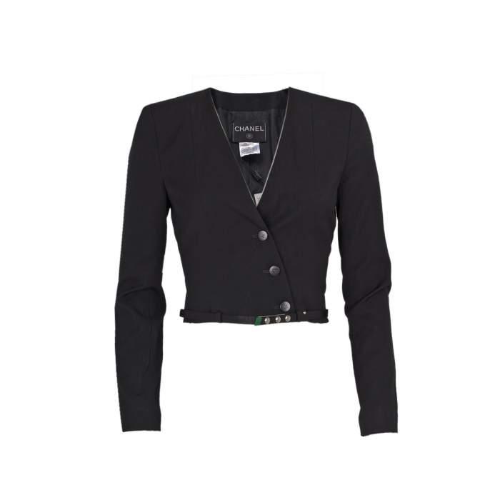 Short cross fastening wool Jacket -0
