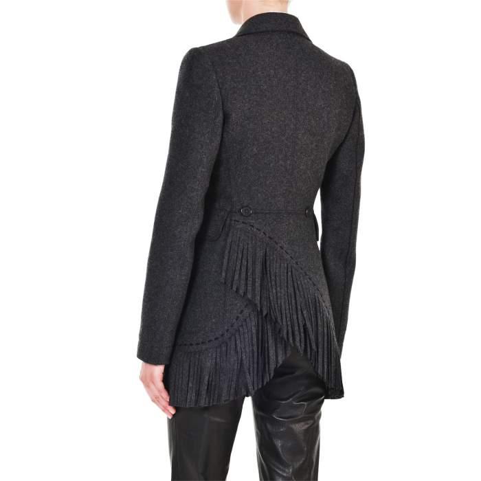 Mid length fringed wool Jacket -8