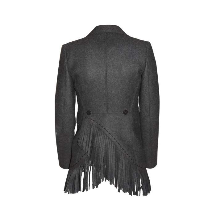 Mid length fringed wool Jacket -2