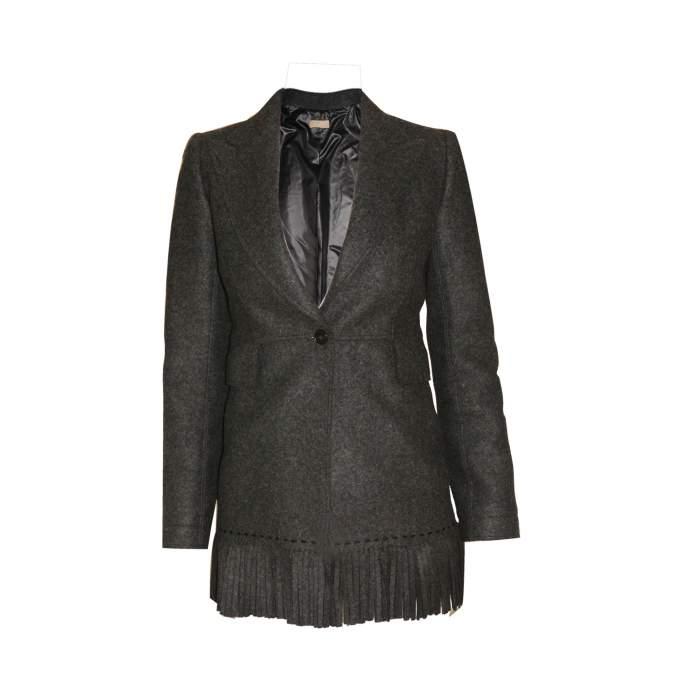 Mid length fringed wool Jacket -0